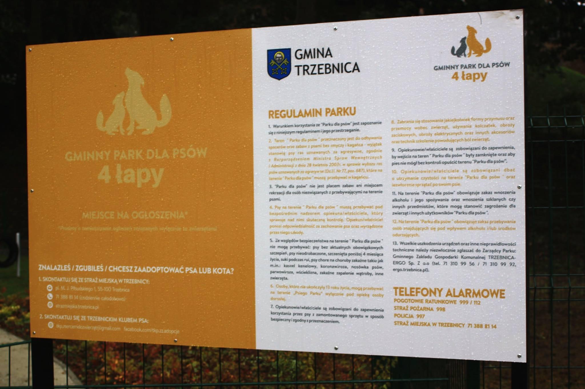 Widok na Trzebnicki Park dla Psów 4łapy.